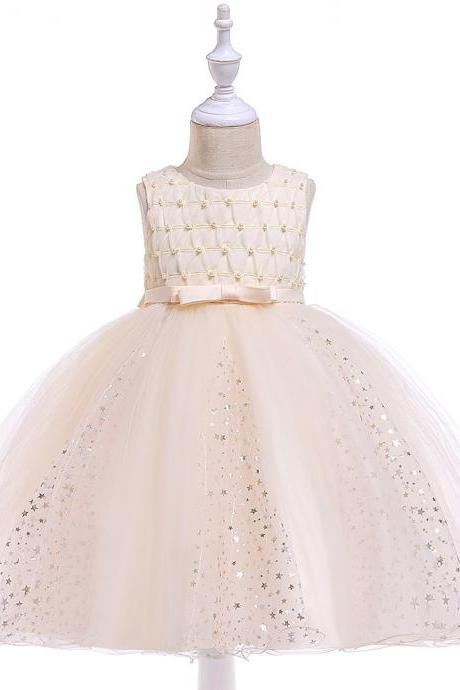 Shining Stars Flower Girl Dress Princess Wedding Party Birthday Ball Gown Children Kids Clothes champagne