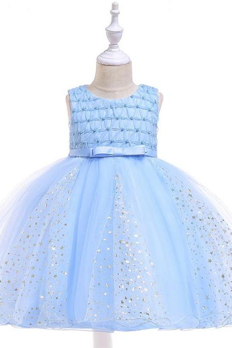 Shining Stars Flower Girl Dress Princess Wedding Party Birthday Ball Gown Children Kids Clothes sky blue