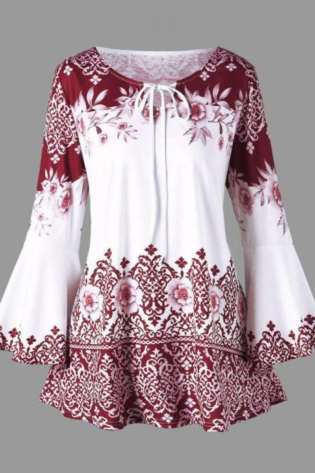 Women Floral Printed T Shirt Spring Autumn Long Flare Sleeve Casual Loose Plus Size Tops Blouse
