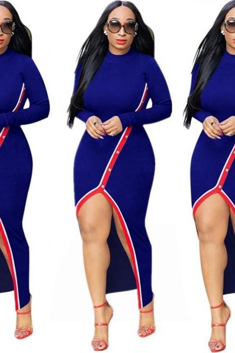 Women Maxi Dress Long Sleeve Sexy Pearls Split Casual Bodycon Night Club Party Dress royal blue