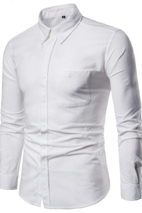 Men Shirt Spring Autumn Corduroy Long Sleeve Single Breasted Casual Slim Fit Plus Size Shirt off white