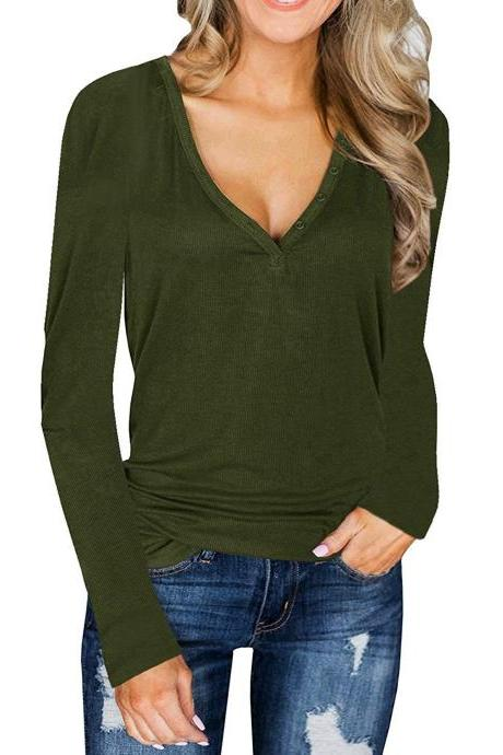 Women Knitted Sweater Spring Autumn V Neck Long Sleeve Button Slim Thin Pullover Tops army green