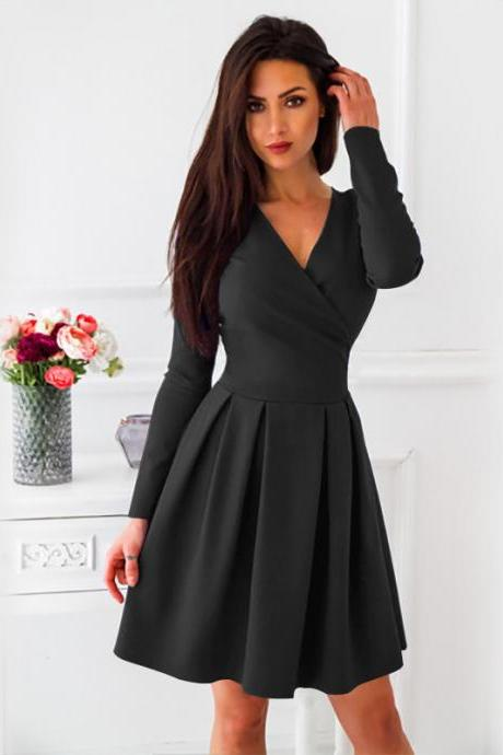 Women Casual Dress Spring Autumn V-Neck Long Sleeve Streetwear A Line Formal Party Dress black