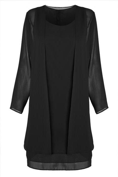 Women Chiffon Midi Dress Plus size Long Sleeve Casual Loose Two Pieces Dress black