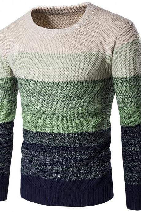 Men Knitted Sweater O Neck Striped Patchwork Casual Long Sleeve Slim Fit Pullover Tops green