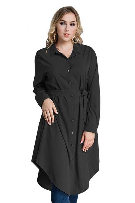 Plus Size Women Shirt Dress Long Sleeve Belted Work Office Midi Casual Asymmetrical Dress black