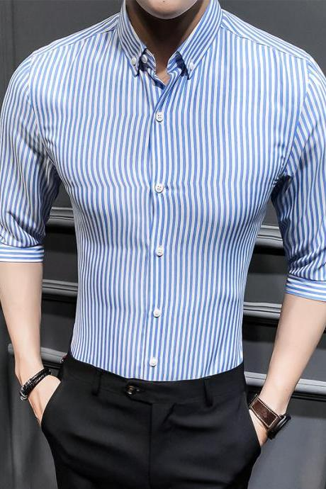 Men Striped Shirt Summer Turn-down Collar 3/4 Sleeve Casual Plus Size Slim Fit Shirt light blue