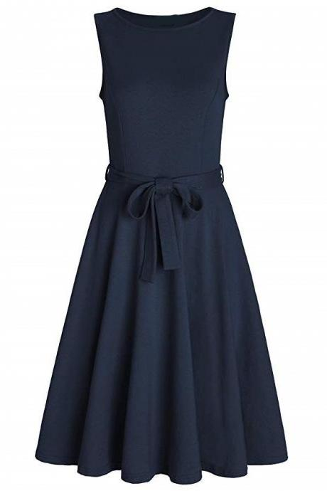 Women Casual Dress O Neck Sleeveless Belted Slim A Line Streetwear Formal Party Dress navy blue