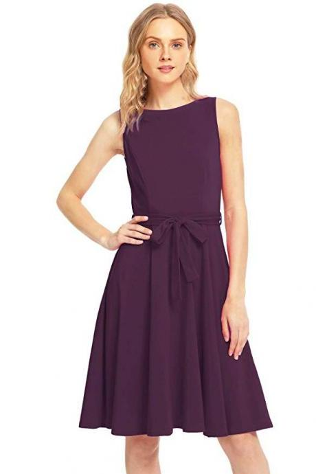 Women Casual Dress O Neck Sleeveless Belted Slim A Line Streetwear Formal Party Dress plum