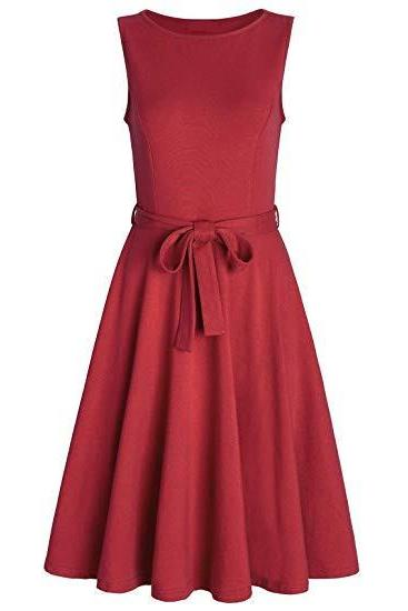 Women Casual Dress O Neck Sleeveless Belted Slim A Line Streetwear Formal Party Dress red
