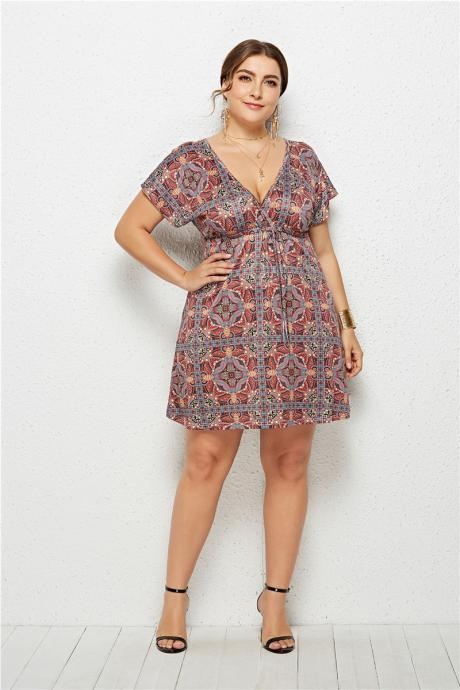 Women Floral Printed Dress V Neck Short Sleeve Plus Size Casual Summer Beach Mini Dresss 5#