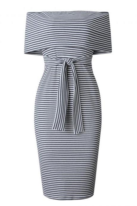 Women Pencil Dress Off the Shoulder Backless Striped Summer Bodycon Office Party Dress gray