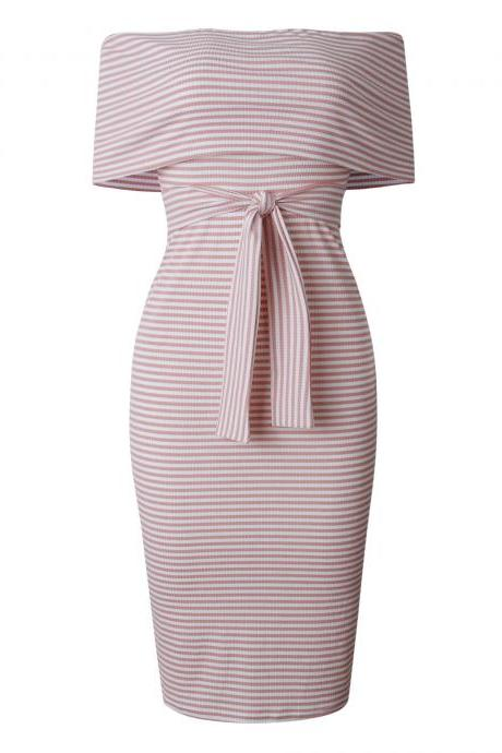 Women Pencil Dress Off the Shoulder Backless Striped Summer Bodycon Office Party Dress pink