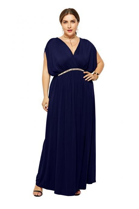 Plus Size Women Maxi Dress V Neck Summer Short Sleeve Long Formal Evening Party Dress navy blue