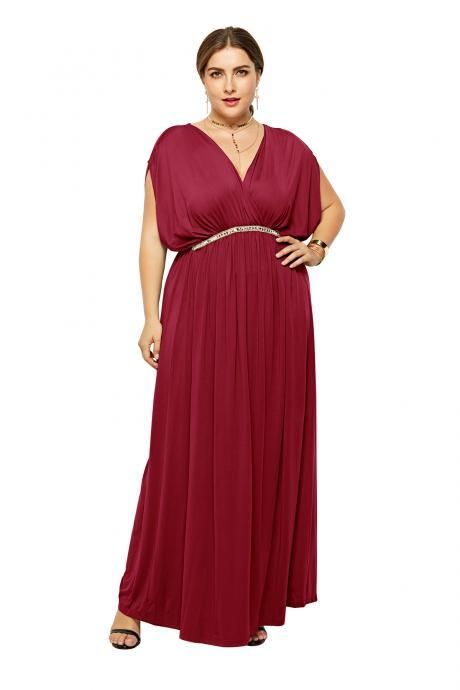 Plus Size Women Maxi Dress V Neck Summer Short Sleeve Long Formal Evening Party Dress wine red