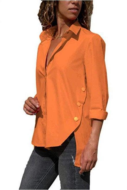 Women Blouse Spring Autumn V Neck Long Sleeve Asymmetrical Hem Side Split Tops Shirt orange