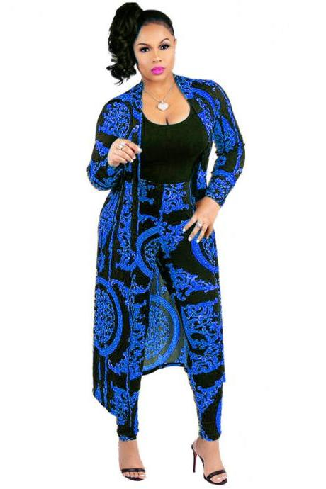 Women Tracksuit Long Sleeve Printed Trench Coat +Pencil Pants Casual Two Pieces Set Outfits blue
