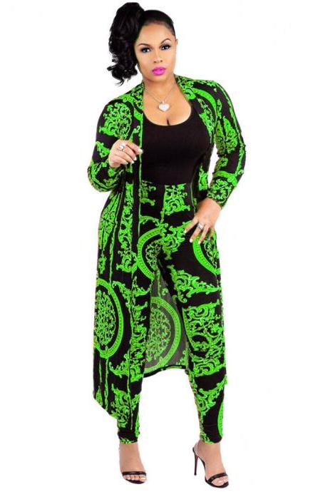 Women Tracksuit Long Sleeve Printed Trench Coat +Pencil Pants Casual Two Pieces Set Outfits green