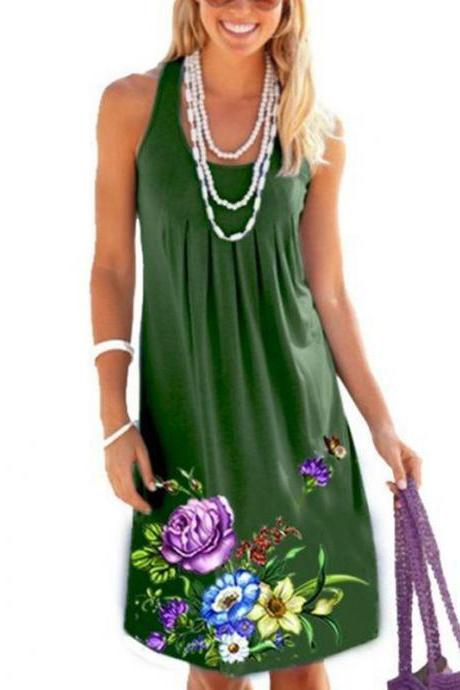 Women Floral Printed Dress Summer Beach Boho Casual Plus Size Sleeveless Sundress green