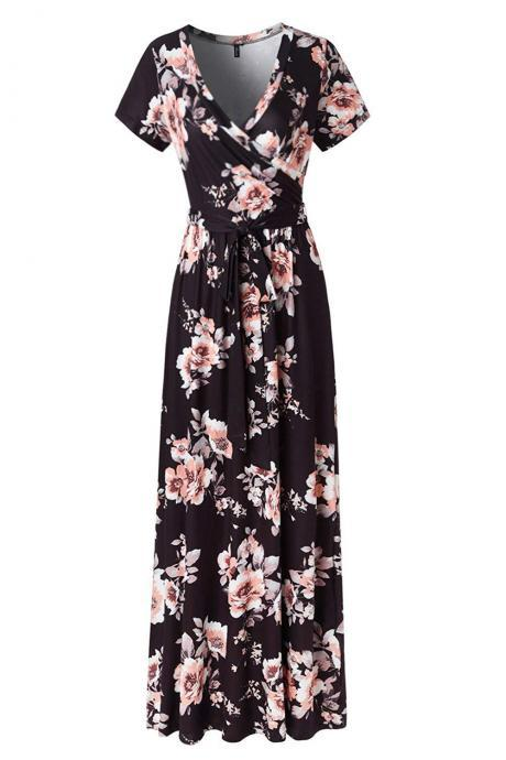 Women Floral Printed Maxi Dress V Neck Short Sleeve Summer Beach Boho Casual Long Dress 1#