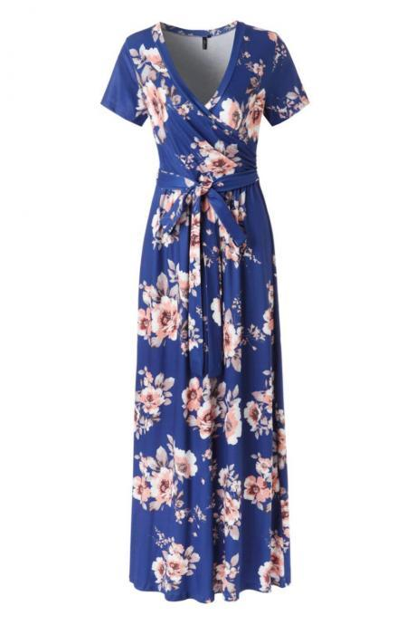 Women Floral Printed Maxi Dress V Neck Short Sleeve Summer Beach Boho Casual Long Dress 3#