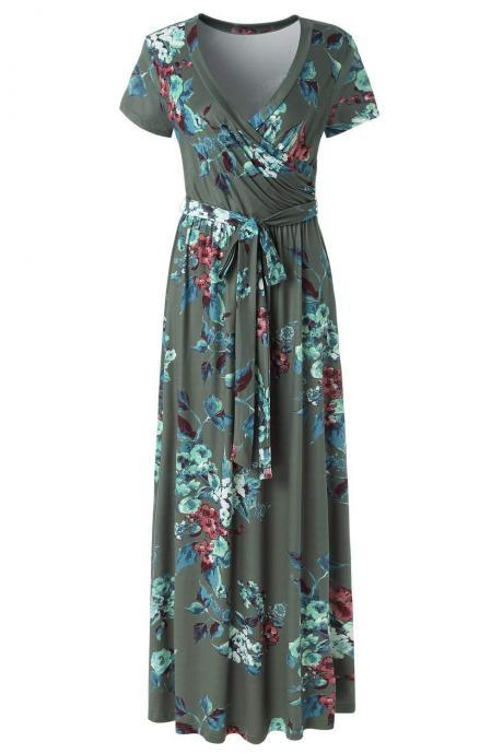 Women Floral Printed Maxi Dress V Neck Short Sleeve Summer Beach Boho Casual Long Dress 4#