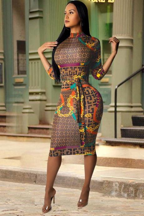 Women Pencil Dress Long Sleeve Palid Printed Belted Slim Bodycon Midi Club Party Dress brown