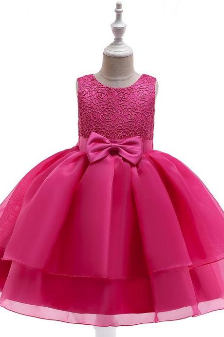 Lace Flower Girl Dress Sleeveless Layered Wedding Formal Birthday Cumunion Party Gown Children Clothes hot pink