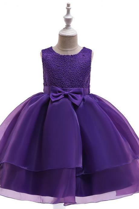 Lace Flower Girl Dress Sleeveless Layered Wedding Formal Birthday Cumunion Party Gown Children Clothes purple