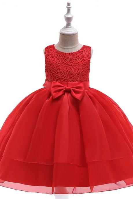 Lace Flower Girl Dress Sleeveless Layered Wedding Formal Birthday Cumunion Party Gown Children Clothes red