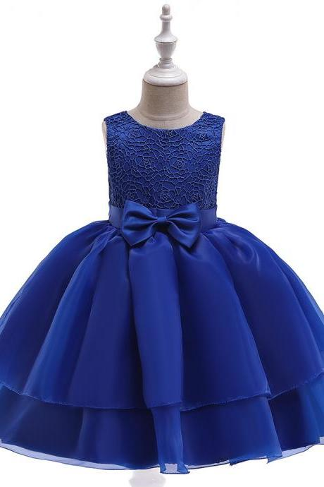 Lace Flower Girl Dress Sleeveless Layered Wedding Formal Birthday Cumunion Party Gown Children Clothes royal blue