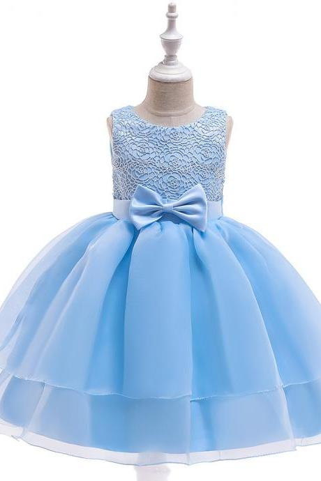 Lace Flower Girl Dress Sleeveless Layered Wedding Formal Birthday Cumunion Party Gown Children Clothes sky blue