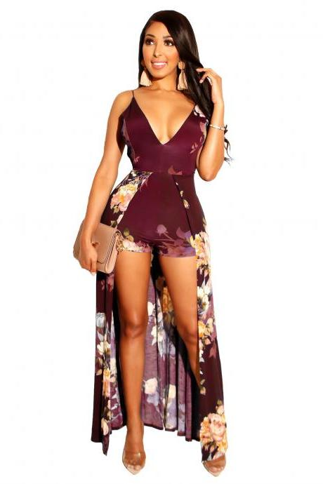 Women Floral Printed Jumpsuit V Neck Spaghetti Straps Summer Beach Casual Backless Rompers wine red