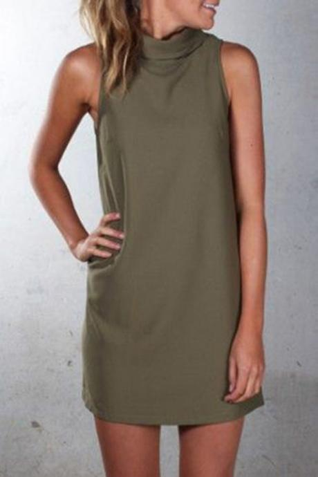 Women Casual Dress Summer Sleeveless Turtleneck Plus Size Mini Club Party Dress army green