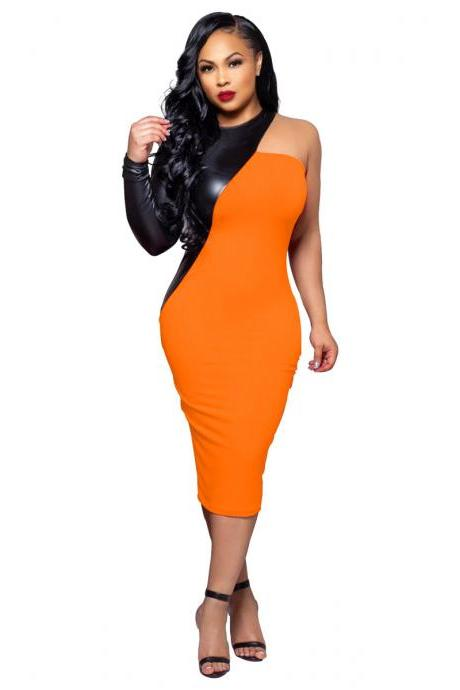 Women Pencil Dress PU Leather Patchwork One Shoulder Long Sleeve Bodycon Midi Club Party Dress orange