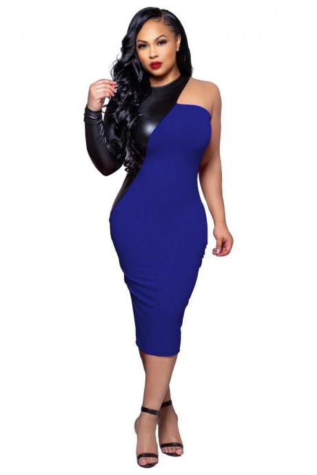 Women Pencil Dress PU Leather Patchwork One Shoulder Long Sleeve Bodycon Midi Club Party Dress royal blue