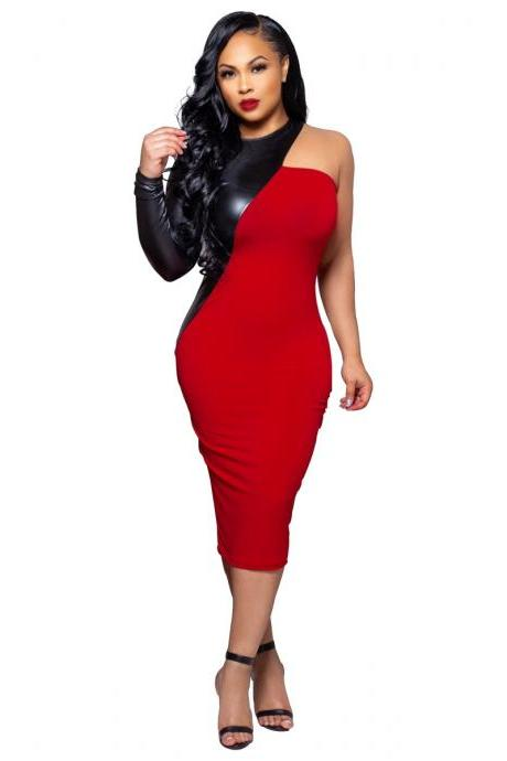 Women Pencil Dress PU Leather Patchwork One Shoulder Long Sleeve Bodycon Midi Club Party Dress red