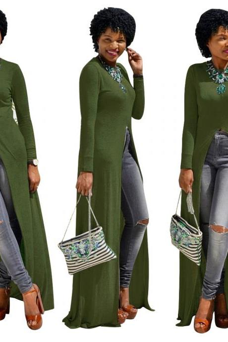 Women Long Sleeve Maxi Dress Front High Split Floor-Length Casual Pullover Tops army green