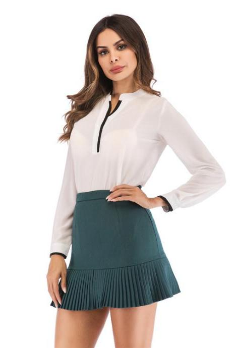 Women Mini Pleated Skirt Summer High Waist Slim Students Package Hip Pencil Skirt hunter green