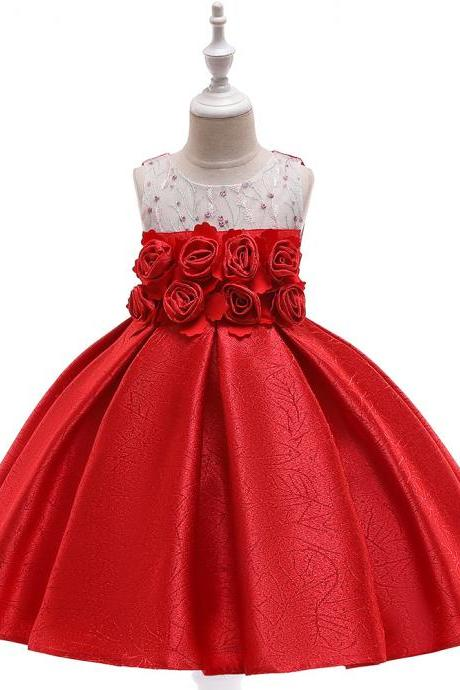 Floral Flower Girl Dress Princess Formal Perform Birthday Party Gown Summer Children Kids Clothes red