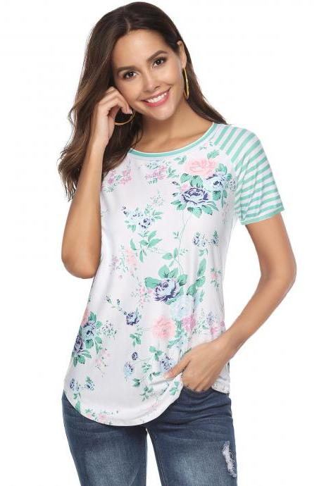 Women Short Sleeve T Shirt Floral Printed Striped Patchwork Summer Beach Casual Slim Tops green