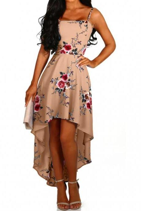 Women Asymmetrical Dress Floral Printed Spaghetti Strap Backless Summer Beach Boho Sundress khaki