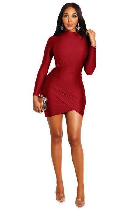 Women Pencil Dress Casual Pleated Long Sleeve Slim Bodycon Mini Night Club Evening Party Dress red