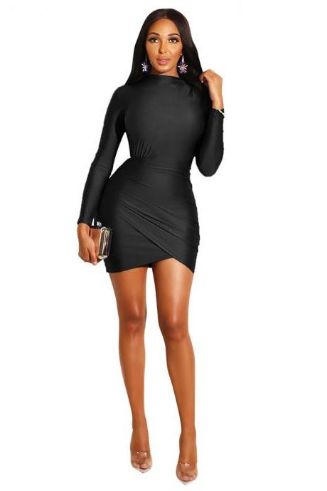 Women Pencil Dress Casual Pleated Long Sleeve Slim Bodycon Mini Night Club Evening Party Dress black