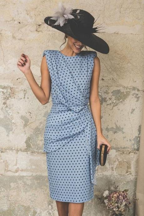 Women Polka Dot Dress Pleated Wrap Sleeveless Slim Bodycon Pencil Party Dress light blue