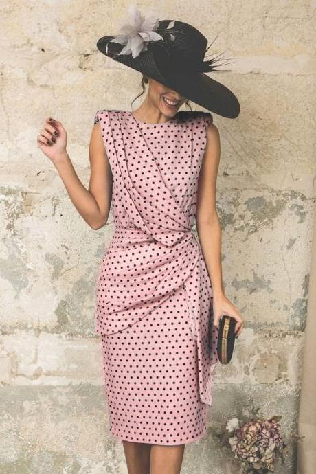 Women Polka Dot Dress Pleated Wrap Sleeveless Slim Bodycon Pencil Party Dress pink
