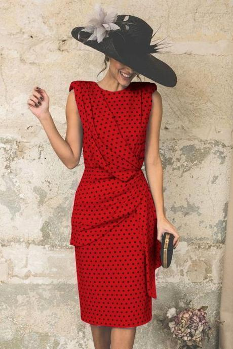 Women Polka Dot Dress Pleated Wrap Sleeveless Slim Bodycon Pencil Party Dress red