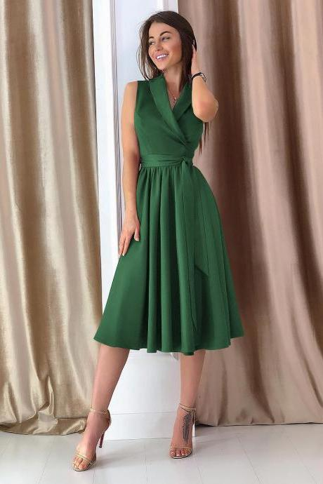Women Midi Casual Dress Spring Summer V Neck Sleeveless A Line Work Office Party Dress green