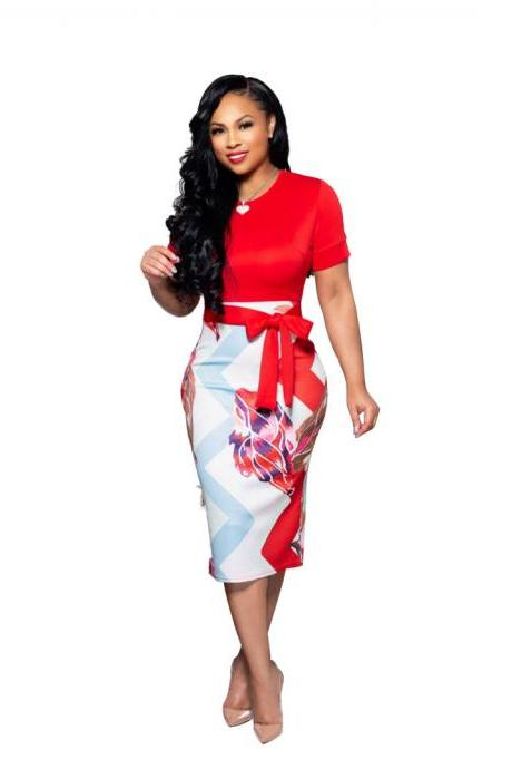 Women Pencil Dress Short Sleeve Printed Patchwork Belted Slim Bodycon Midi Work Office Party Dress red