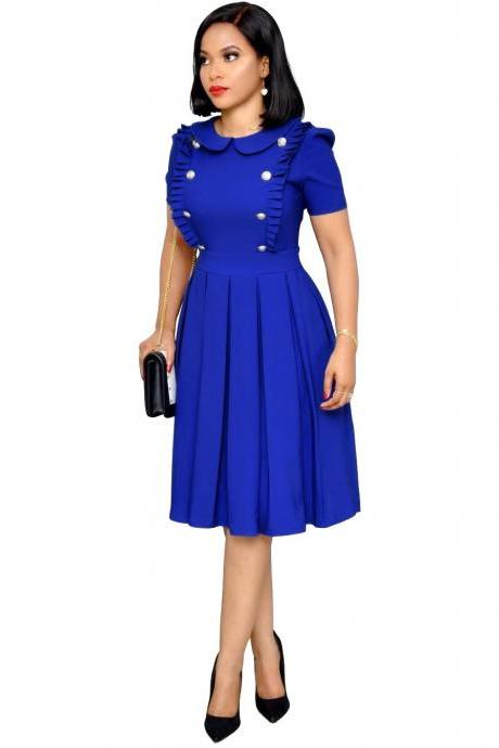 Women Casual Dress Short Sleeve Pleated Button Ruffles Peter Pan Collar Midi A-Line Work Office Dress blue